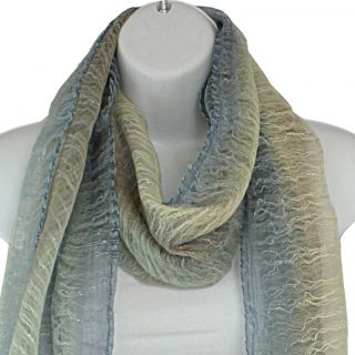 Hand spun Silk Blue Rainbow Vertical Stripes Scarf (India)