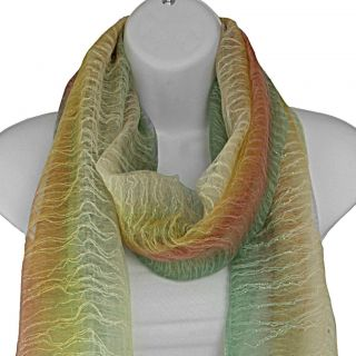 Hand spun Silk Mint Rainbow Vertical Stripes Scarf (India)