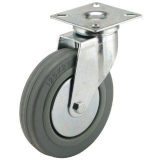 Caster D Series Plate Caster, Swivel, Rubber Wheel, Plain Bearing, 154