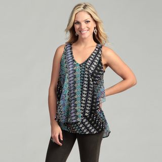 Lola P Womens Black Beaded V neck Ruffle Top