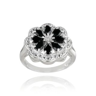 Glitzy Rocks Sterling Silver Black Spinel and Diamond Accent Flower