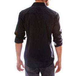 191 Unlimited Mens Black Embroidered Stripe Shirt