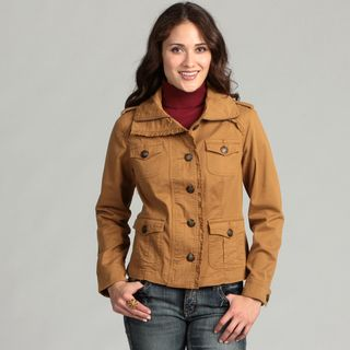 Live a Little Womens Ruffle Trim Military Jacket
