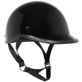Outlaw Ultra Slim Profile Fiberglass Polo Half Helmet   Glossy Black