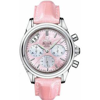 Omega Womens DeVille Coax Pink Leather Strap Watch