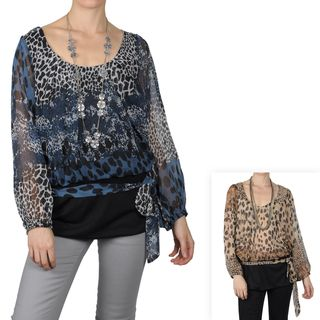 Tressa Designs Womens Contemporary Plus Animal Print Long Sleeve Top