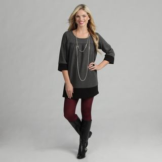 Live A Little Womens Charcoal Grey Banded Tunic Top