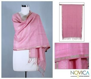 Handcrafted Cotton and Silk Maheshwari Rose Shawl (India