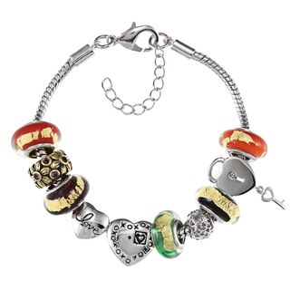 La Preciosa Silvertone Multi colored Glass Stripe Bead Charm Bracelet