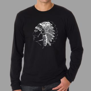 Los Angeles Pop Art Mens Native American Indian Long Sleeves Shirt