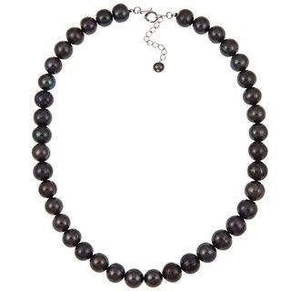 Pearlz Ocean Sterling Silver Black Freshwater Pearl Necklace (10 11 mm