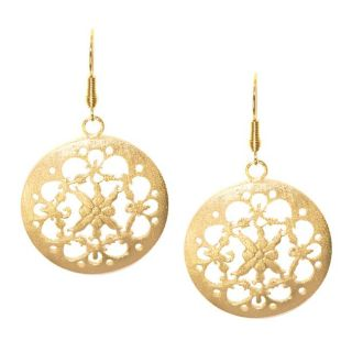 Adee Waiss 18k Yellow Gold Overlay Cutout Medallion Earrings