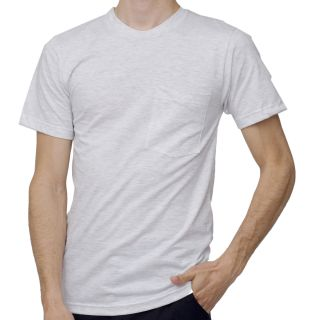 American Apparel Mens Ash Grey Pocket T Shirt (2XL)