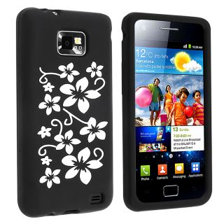 Black Hawaii Flower Silicone Skin Case for Samsung Galaxy S II i9100