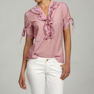 Ninety Womens Cotton Ruffle Placket Short sleeve Shirt