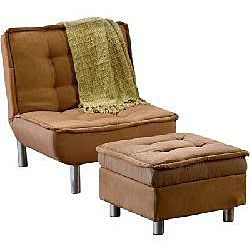Belinda Brown Microsuede Sofa Bed and Ottoman Set