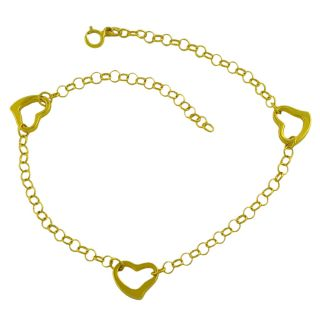 14k Yellow Gold 10 inch Rolo Link Open Heart Stations Anklet