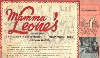 Mamma Leones Menu, 239 West 48th Street, New York City, JUdson 6 5151