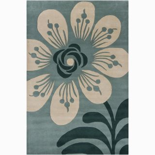 Hand tufted Mandara Blue Floral New Zealand Wool Rug (79 x 106