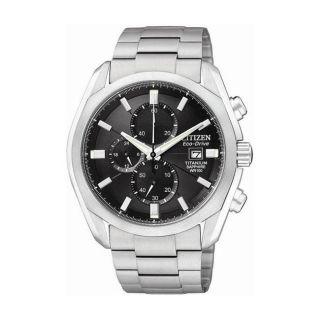 Citizen Eco Drive Mens Titanium Chronograph Black Dial Watch