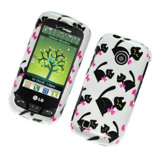 For LG Beacon UN270/MN270 Hard Plastic GLOSSY Cover Case Cat Bow Tie
