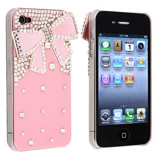 BasAcc Pink with Diamond/ Ribbon Snap on Case for Apple iPhone 4/ 4S