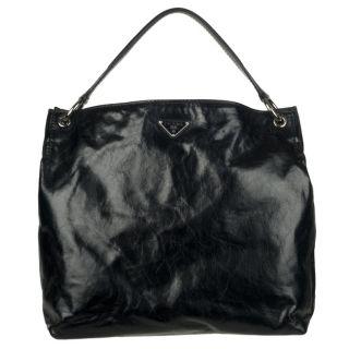 Prada Vitello Shine Black Distressed Leather Hobo Bag