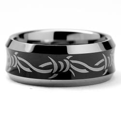 Mens Tungsten Carbide Black plated Laser etched Barbed Wire Design