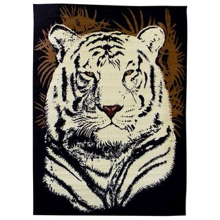 African Adventure White Tiger Head Black Area Rug (5 x 7