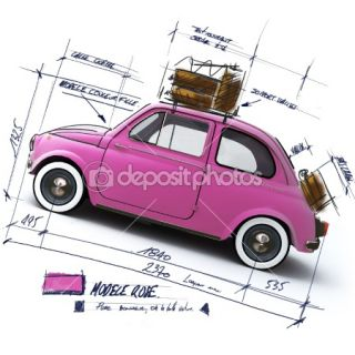 Retro pink car design  Foto stock © La Fabrika Pixel s.l. #2317502