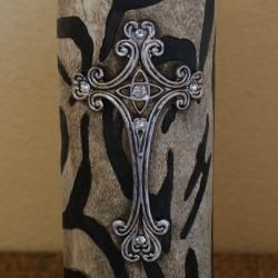 Rhinestone Cross Pillar Animal Print Candle Holder
