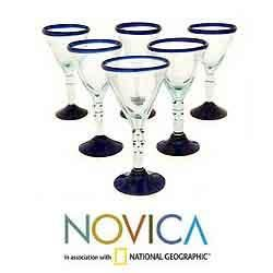 Set of 6 Blown Glass Double Bubble Wine Glasses (Mexico)