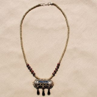 Hand made Black Tawiz Pendant Necklace (Afghanistan)