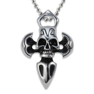 Stainless Steel Antiqued Skull and Axe Cross Necklace