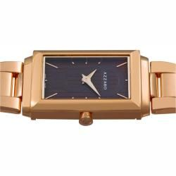 Azzaro Mens Legend Rectangular Rose Gold PVD Havana Face Watch