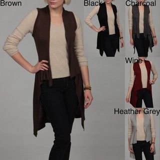 Jessi Womens Ribbed Fold Over Collar Cardigan
