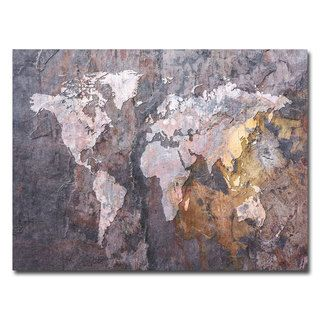 Michael Tompsett World Map  Rock Canvas Art