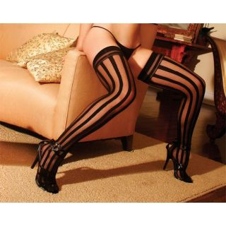 Black Opaque Stripe Thigh High Stockings (Pack of 2)