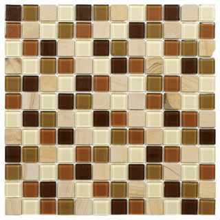 SomerTile 11.5x11.5 inch Chroma Square Kalamata Glass and Stone Mosaic