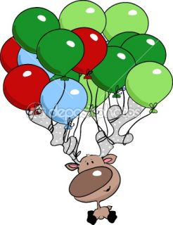 Reindeer flying with balloons  Stock Vector © Ivana Forgo #2398049