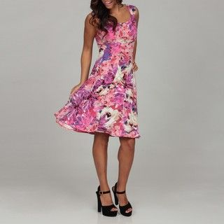 London Times Womens White/ Pink Floral Fit and Flair Dress