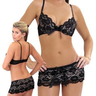 Bang! Black Lace 2 piece Bra and Thong Skirt Set