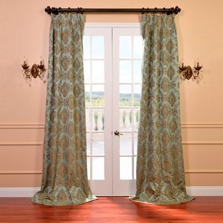 Amalfi Aqua and Bronze Faux Silk Jacquard French Pleated Curtains