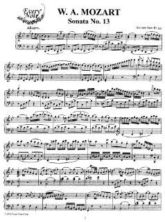 Mozart Piano Sonata No. 13 in B flat Major, K.333 Instantly download