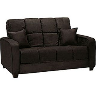 Cara Black Microfiber Futon Loveseat Bed