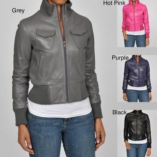 Knoles & Carter Womens Veronica Leather Bomber Jacket