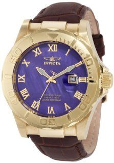 Invicta Mens 1711 Pro Diver Elegant Gold Tone Leather Watch Watches