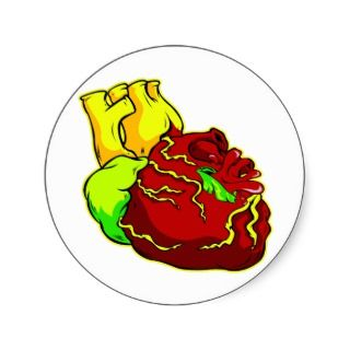 Real Human Heart Tattoo Round Stickers