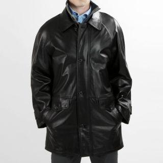United Face Mens Black Lambskin Leather 3/4 length Jacket