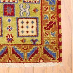 Indo Hand knotted Kazak Light Green/ Light Brown Wool Rug (2 x 4